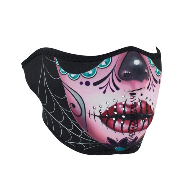 Neoprene Half Face - SUGAR SKULL REVERSIBLE TO PURPLE- WNFM082H