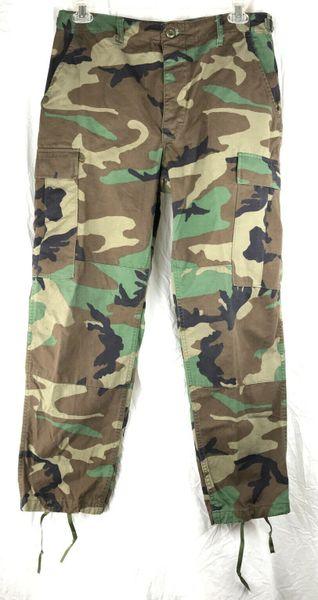 Men's Military Trousers, Woodland Camo BDU Combat Pants | Medium Short | Used