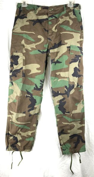 Men's Military Trousers, Woodland Camo BDU Combat Pants | Small Short | Used