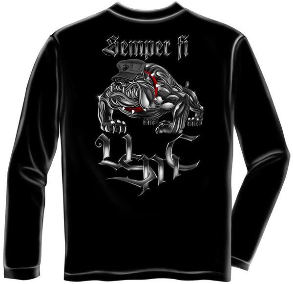 Long Sleeve Chrome dog Sempri Fi T-Shirt