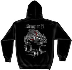Hooded Sweatshirt Chrome Dog Sempri Fi