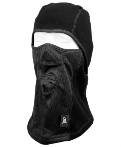 WINTER FACE COVER SPORTS MASK W/FRONT MESH & FUR LINING - BLACK