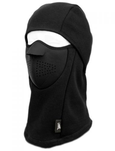 WINTER FACE COVER SPORTS MASK W/FRONT FOAM & FUR LINING - BLACK
