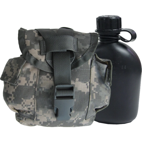 Military 1-Quart Canteen & ACU MOLLE II Canteen Pouch Set