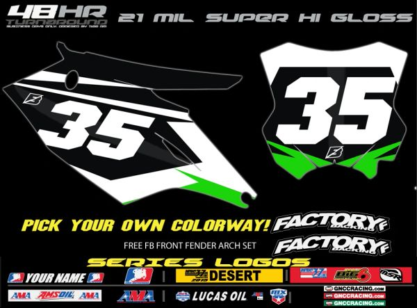 Kawasaki Factory Backing Accelerate pre printed backgrounds Includes Air box if applies and 3 logos