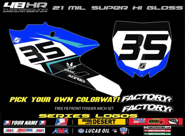 Yamaha Factory Backing Pre Printed Backgrounds Fast Series with up to 3 airbox logos