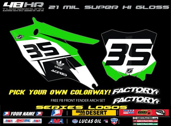 Kawasaki Fast Series pre printed backgrounds Includes Air box if applies and 3 logos