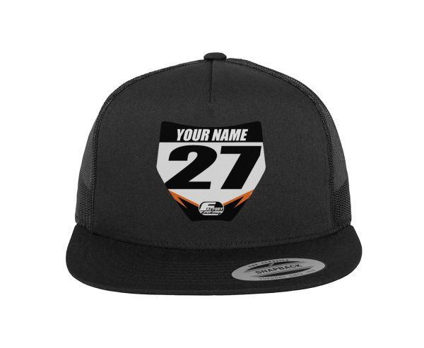 PERSONALIZED RACE MX TRUCKER HAT MINI NUMBER PLATE -CUSTOM NAME/ COLORS