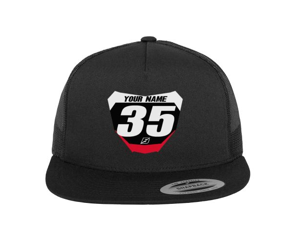 PERSONALIZED QUICKMAN MX TRUCKER HAT MINI NUMBER PLATE -CUSTOM NAME/ COLORS