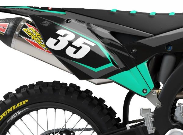 Kawasaki Factory Backing Pre Printed Backgrounds Midnight Series with 3 airbox logos