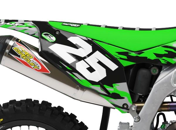 Kawasaki Factory Backing Pre Printed Backgrounds Camo Series with 3 airbox logos