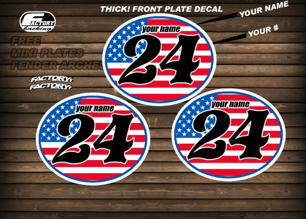 Vintage mx Custom Pre Printed Number plate Backgrounds Ovals FULL FLAG-USA (Decals only)