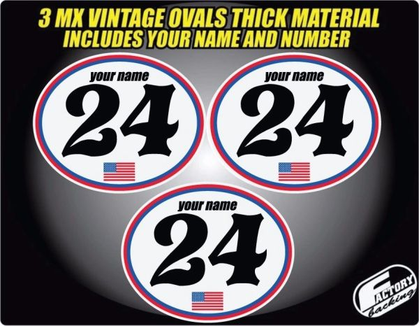 Vintage mx Custom Pre Printed Number plate Backgrounds Ovals USA Series (Decals only)