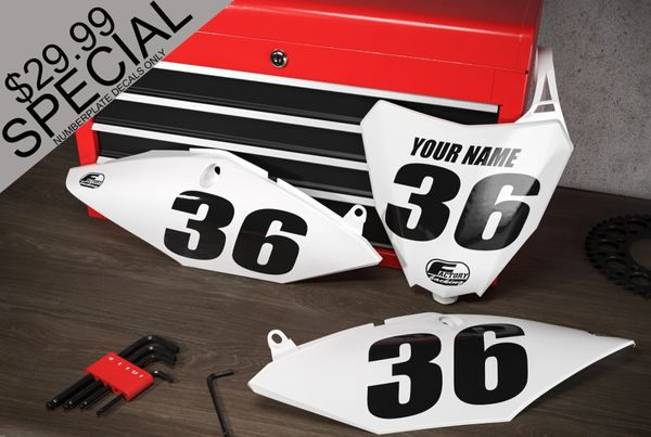 SPECIAL! Factory Backing Pre Printed number decals black and white your & name #