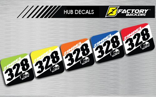 HUB DECAL SET STYLE #1 *CHOOSE NAME/ NUMBER/ COLOR