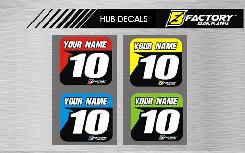 HUB DECAL SET STYLE #2 *CHOOSE NAME/ NUMBER/ COLOR