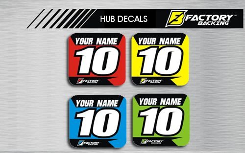HUB DECAL SET STYLE #3 *CHOOSE NAME/ NUMBER/ COLOR
