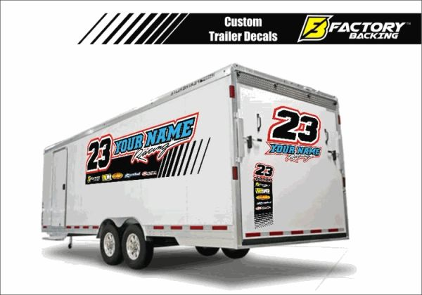 TS2 Large Trailer Vinyl Decals with sponsors logos and your colors!