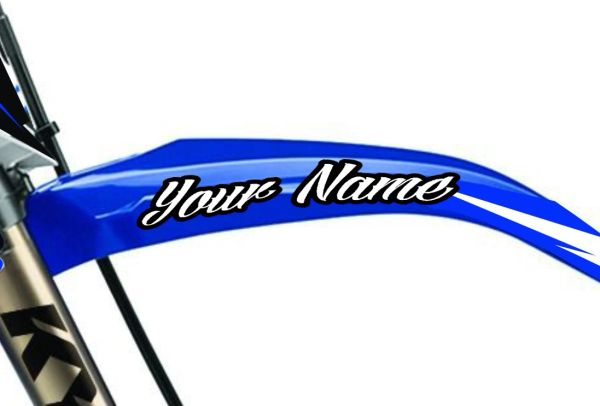 Arched Front Fender Stickers, 21 MIL. MX front fender arches is one of the best advertising spots on the mx dirt bike!