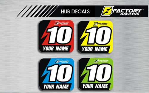 HUB DECAL SET STYLE #4 *CHOOSE NAME/ NUMBER/ COLOR