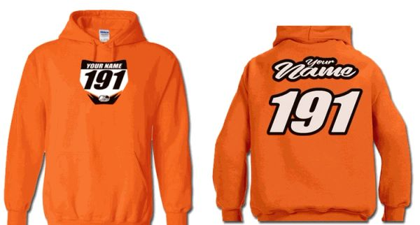 Orange Pit Hoody Sweatshirt Style #11 Custom MX clothing