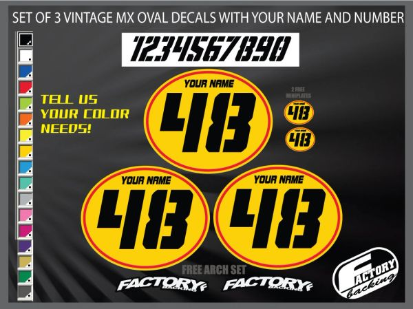 Vintage motocross number plates Sticker Ovals YOUR # YOUR NAME (Decals only)