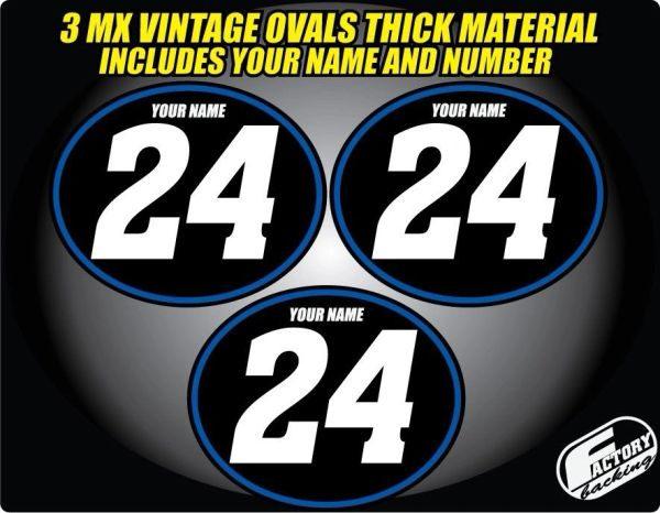 Vintage mx Custom Pre Printed Number plate Backgrounds Ovals Achen (Decals only)