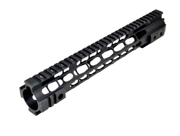 "12.5/"" Slim Rifle Length Free Float Quad Rail Handguard with Steel Barrel Nut"