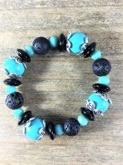 Turquoise and Black Beaded Bracelet