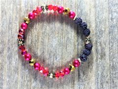 Red/Pink/Gold Beaded Bracelet