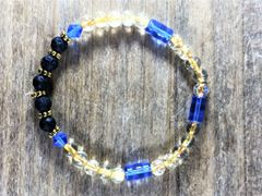 Blue/Gold/Black Beaded Bracelet