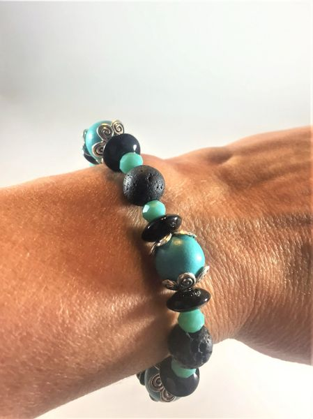 Turquoise and Black Beaded Bracelet