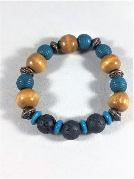 Blue and Brown Beaded Bracelet