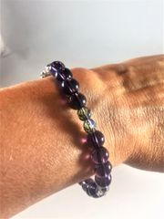 Deep Purple, Silver, and Black Beaded Bracelet