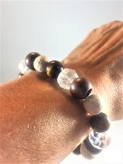 Brown, Black, and Cream Beaded Bracelet