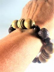 Dark and Light Wooden Beaded Bracelet