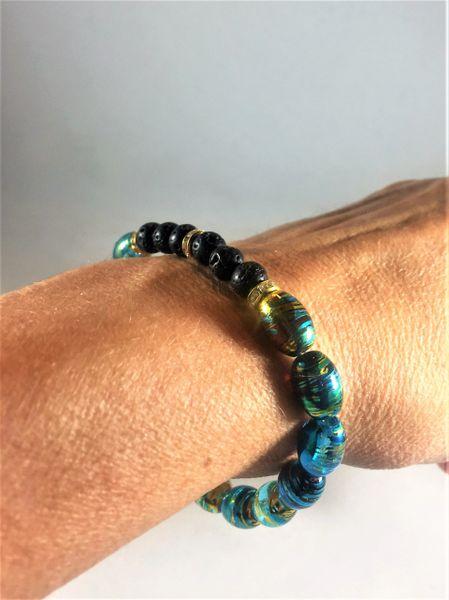Turquoise/Gold/Black Beaded Bracelet
