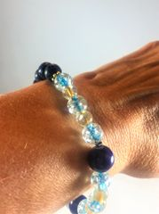 Chrystal Blue and Black Beaded Bracelet