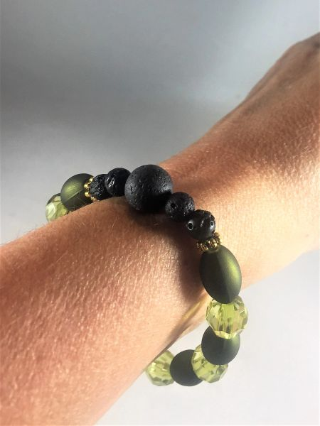 Green and Black Beaded Bracelet