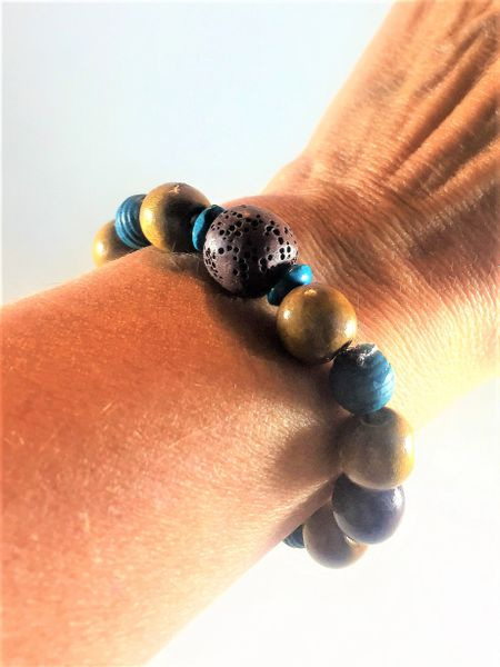 Turquoise/Brown Beaded Bracelet