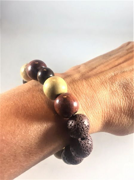 Light and Dark Brown Wood Beaded Bracelet