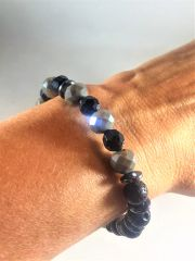 Black/Gray/Silver Beaded Bracelet