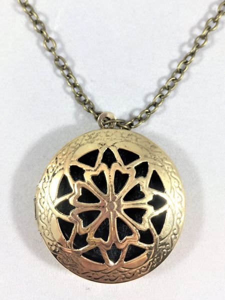 Antique Bronze Locket/Round Link Cable Necklace