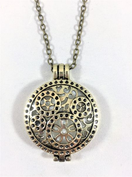 Antique Bronze Locket/Round Gear Link Necklace