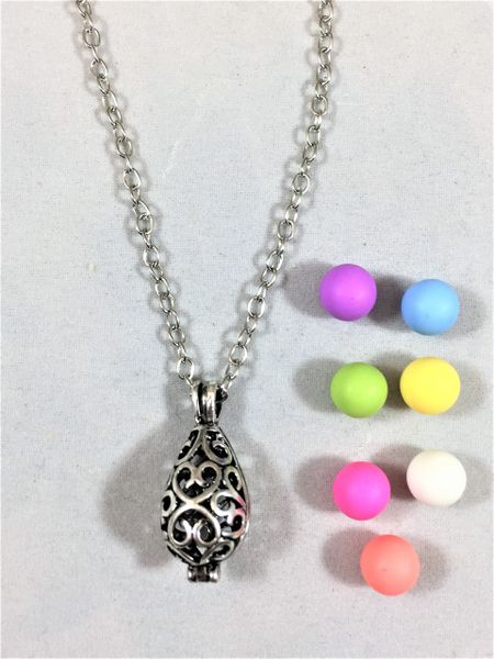 Antique Silver Diffuser Necklace with Clay Aroma Beads