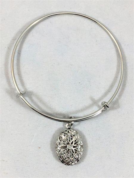 Platinum Colored Oval Locket, Bangle Bracelet