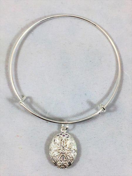 Silver Oval Locket, Bangle Bracelet