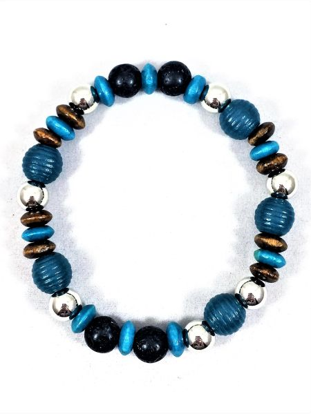 Blue/Brown/Black Beaded Bracelet