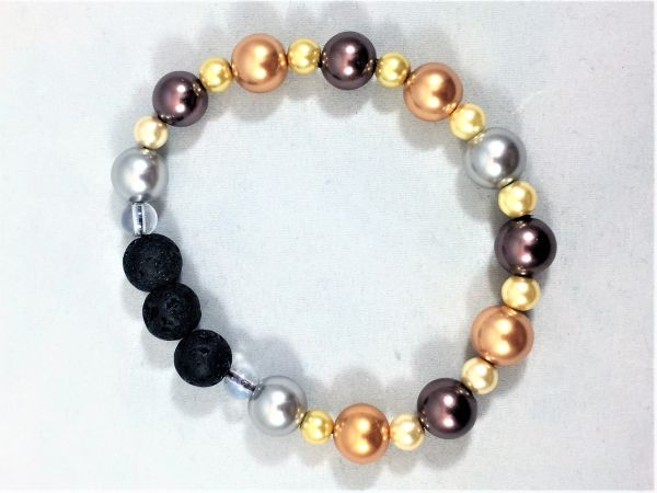 Bronze/Ivory/Brown Beaded Bracelet