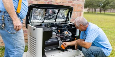 our owner inspecting a generator